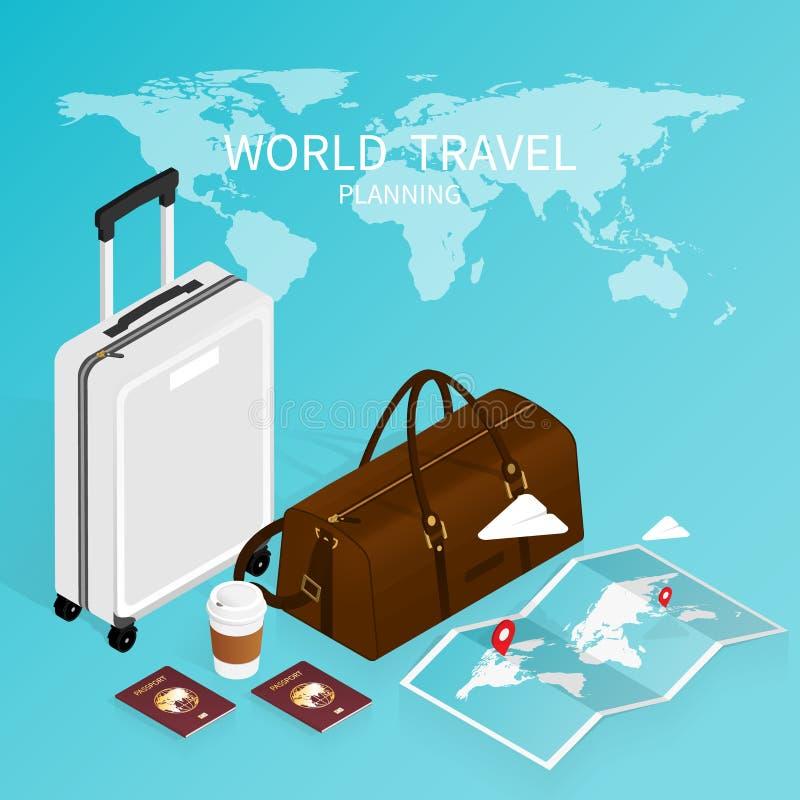Prenotazione online isometrica, mappa di mondo del passaporto, prenotazione online vectorisometric di viaggio di piano di viaggio royalty illustrazione gratis