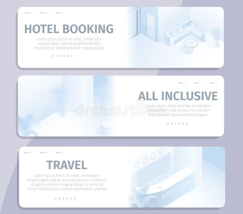 Prenotazione online tutte le insegne incluse di viaggio dell'hotel royalty illustrazione gratis