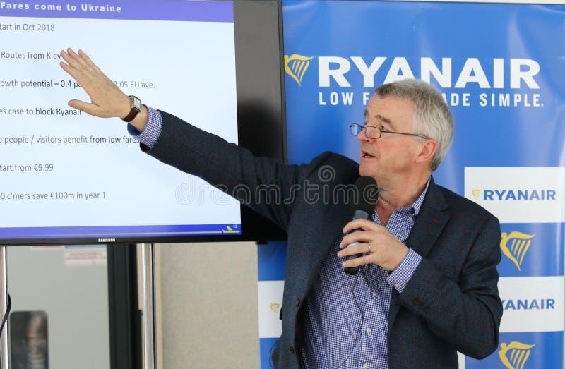Prensa-conferencia de Ryanair en el aeropuerto de Kyiv-Boryspil, Ucrania fotografía de archivo libre de regalías