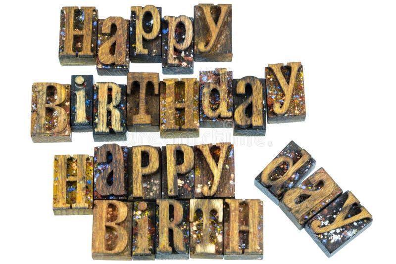 Prensa de copiar del saludo del feliz cumpleaños imagen de archivo