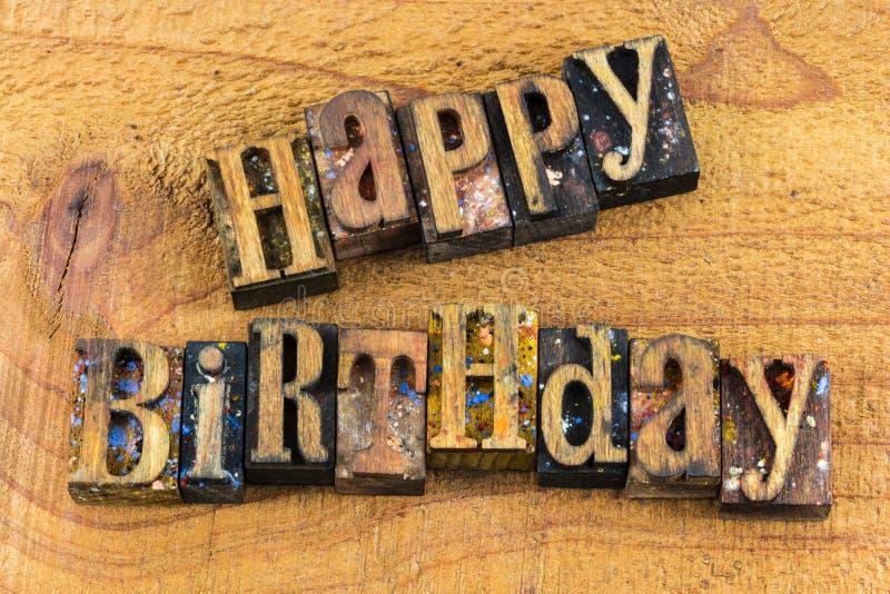 Prensa de copiar de la celebración del saludo del feliz cumpleaños fotos de archivo