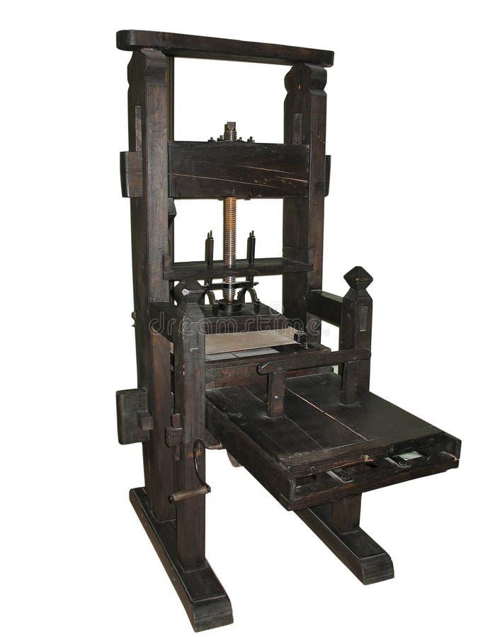 Prensa de copiar negra antigua aislada en blanco imagen de archivo libre de regalías