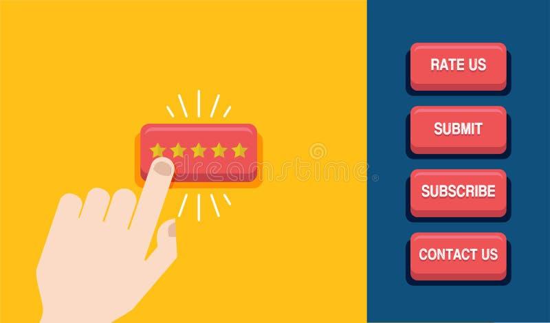 Prensa de la mano el botón de la estrella Concepto del comentario del cliente Estrellas de oro de clasificación Botones del Web I stock de ilustración
