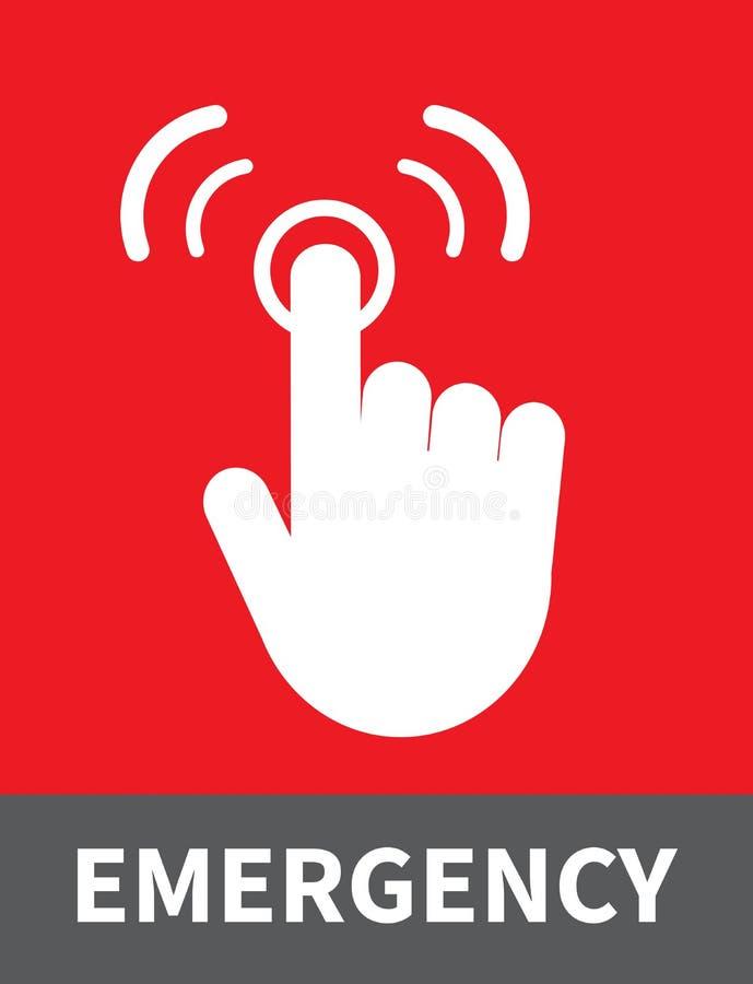 Prensa del finger en el botón de la emergencia Icono de la alarma del empuje Ilustraci?n del vector ilustración del vector