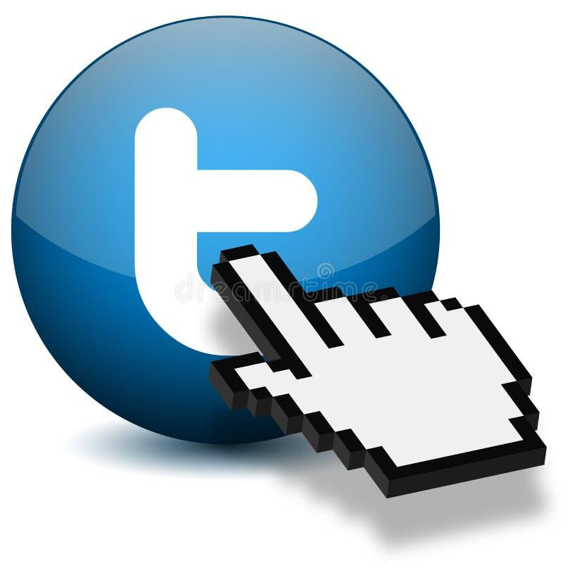 Prensa Twitter de la mano del ratón stock de ilustración
