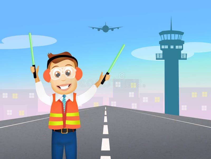 Prentbriefkaar aan de dag van de manager van de Luchtvaart royalty-vrije illustratie