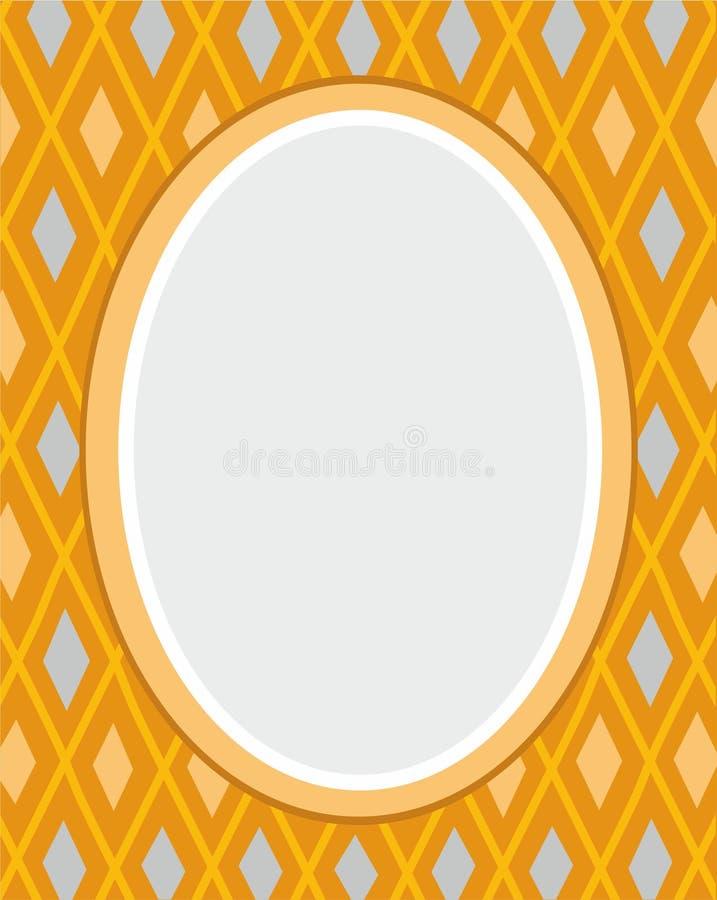 Prentbriefkaar, geel kader, diamanten, meetkunde, vlakke kleur, stock illustratie