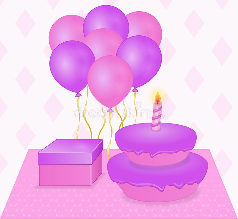 Prentbriefkaar gelukkige verjaardag in roze en purpere kleuren stock afbeeldingen