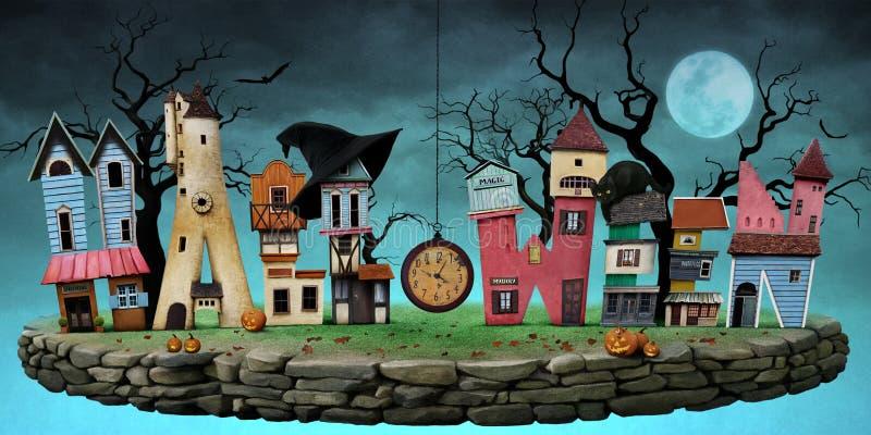 Prentbriefkaar Halloween royalty-vrije illustratie