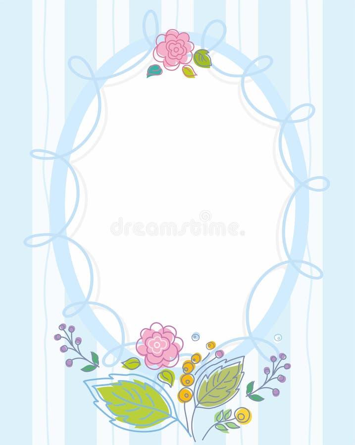 Prentbriefkaar, kader, blauw, gestreept, gekleurd, contourbloemen stock illustratie