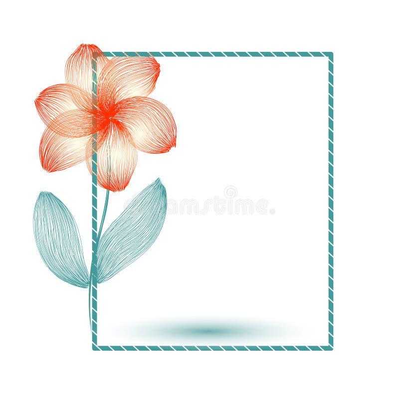 Prentbriefkaar, kader met één bloem Tekening van veelvoudige lijnen vector illustratie