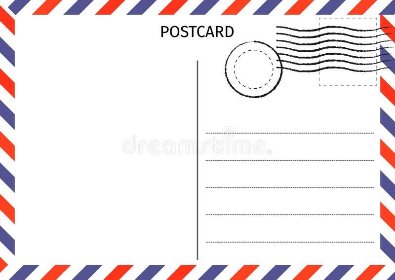 prentbriefkaar Luchtpost Briefkaartillustratie voor ontwerp Reis vector illustratie