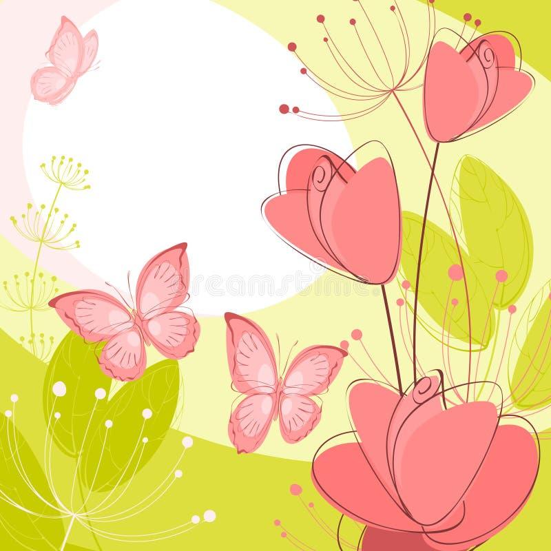 Prentbriefkaar met bloemen royalty-vrije illustratie
