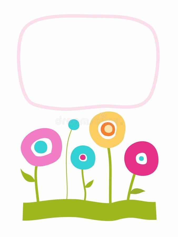 Prentbriefkaar met bloemen, kader voor tekst, kleur royalty-vrije illustratie