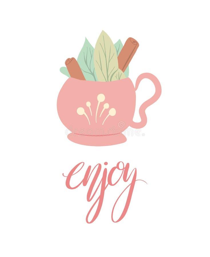 Prentbriefkaar met een kop thee met gebladerte en pijpjes kaneel en het van letters voorzien enjoy Verticale de zomerkaart met ka stock illustratie