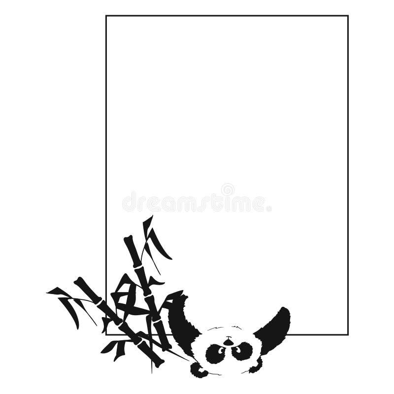 Prentbriefkaar met een panda die van onderaan kijkt vector illustratie