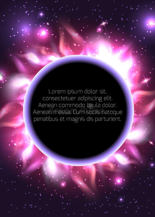 Prentbriefkaar met een planeet in ruimte met sterren en plaats voor tekst vector illustratie