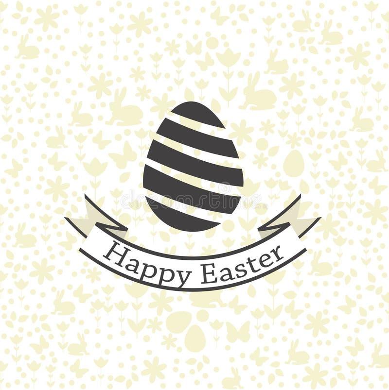 Prentbriefkaar met Gelukkige Pasen-groeten Achtergrondpatroonontwerp Het vectordossier stock illustratie