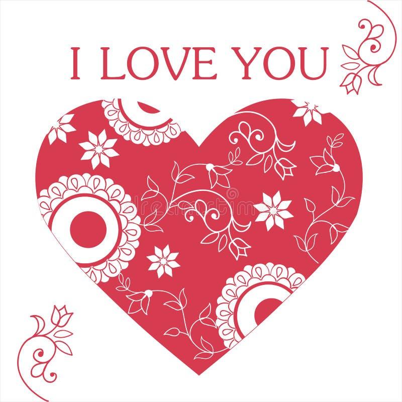 Prentbriefkaar met hart I liefde u Geschikt voor gelukwensen op de Dag van Valentine ` s, Gelukkige Verjaardag, op Moeder` s Dag royalty-vrije illustratie