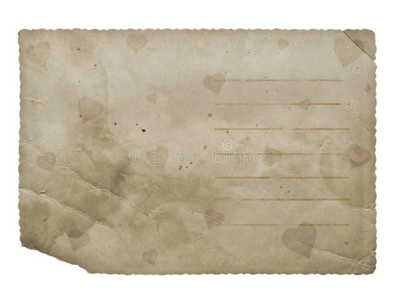 Prentbriefkaar met harten. Het document van Grunge. royalty-vrije illustratie