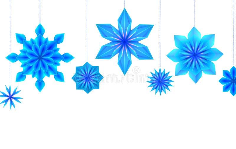 Prentbriefkaar met het hangen van blauwe origamisneeuwvlokken en plaats voor tekst op witte achtergrond Vector Malplaatje stock illustratie
