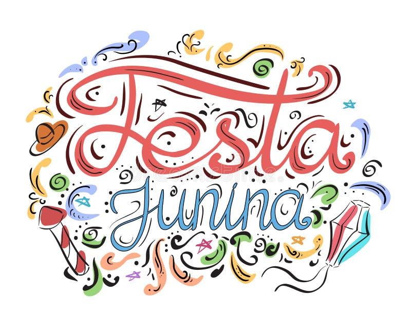 Prentbriefkaar met het van letters voorzien Festa junina Hand het getrokken van letters voorzien stock illustratie