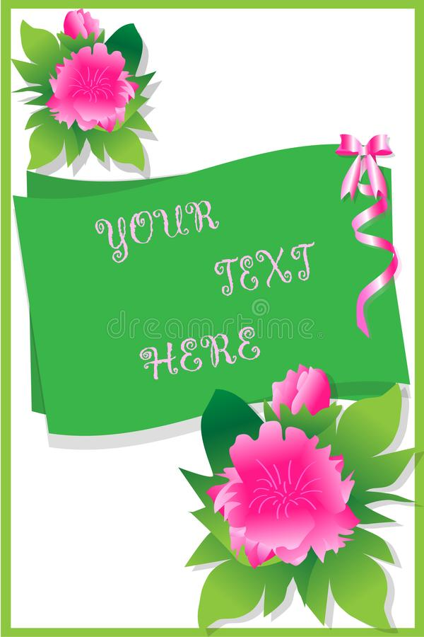 Prentbriefkaar-met-mooi-roze-pioen-voor-vakantie-groeten vector illustratie