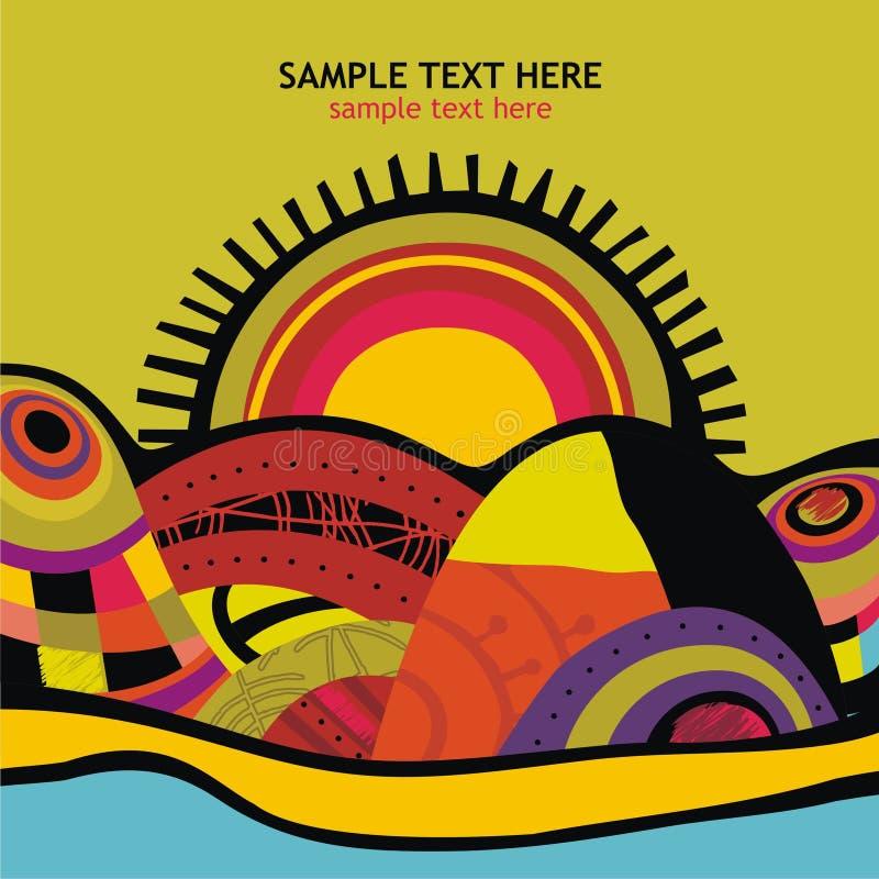 Prentbriefkaar met multicolored zonnen stock afbeelding