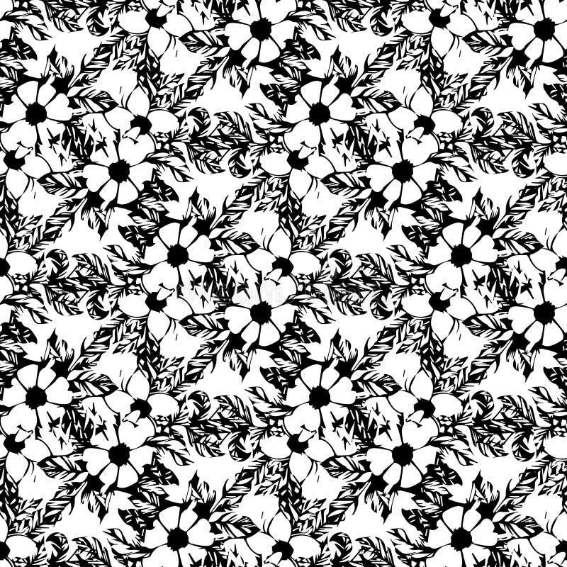 Prentbriefkaar met takken en bladeren Modieuze en moderne prentbriefkaar Naadloos patroon met zwart-witte bloemen van appel royalty-vrije illustratie