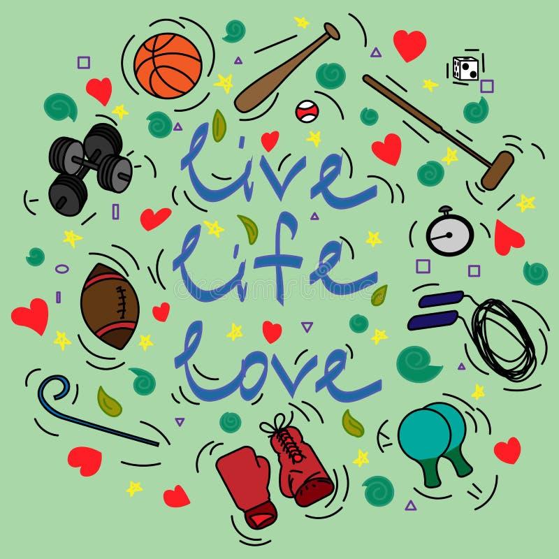 Prentbriefkaar met tekst Live Life Love en attributen voor sport royalty-vrije illustratie