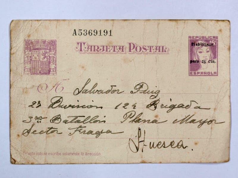 Prentbriefkaar met twee zegels van de Republiek Spaanse Burgeroorlog stock illustratie