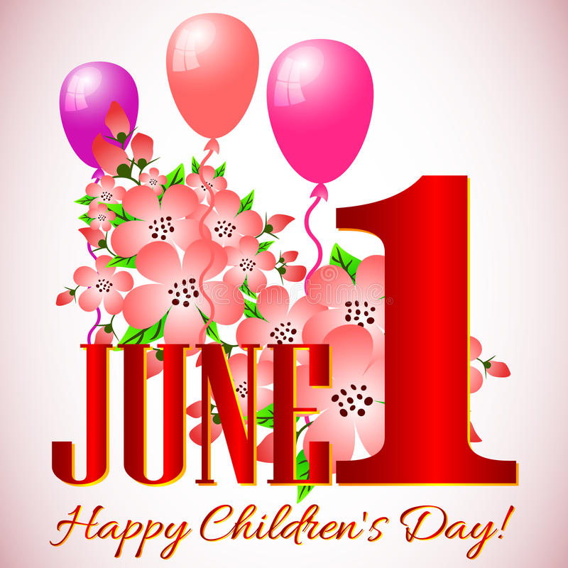 Prentbriefkaar op 1 Juni - de Dag van Internationale Kinderen stock illustratie