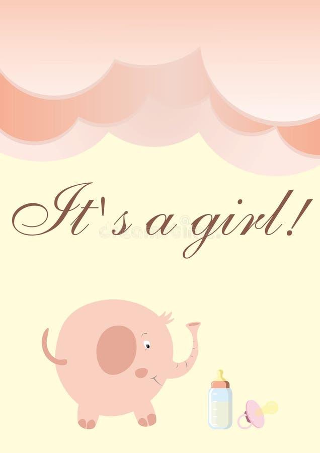 Prentbriefkaar ter gelegenheid van een geboorte van een meisje in roze kleuren royalty-vrije stock foto