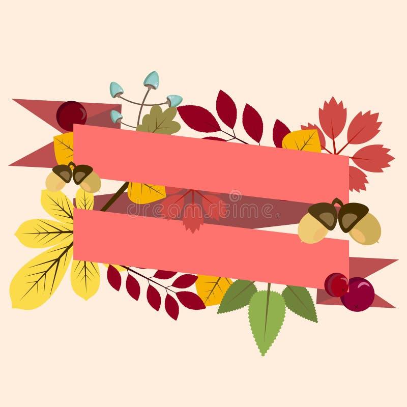 Prentbriefkaar, uitnodigingsmalplaatje met de herfstbladeren en lint royalty-vrije illustratie