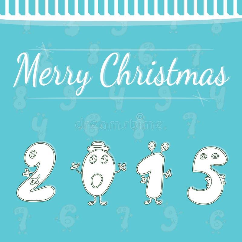Prentbriefkaar van het vakantie de nieuwe jaar met witte cijfers 2015 royalty-vrije illustratie