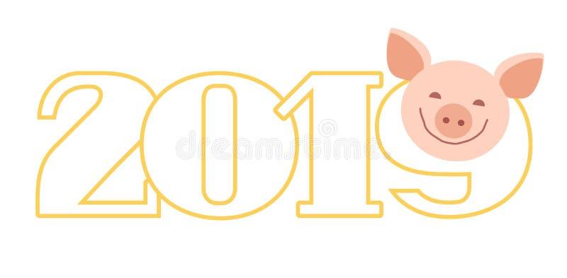 Prentbriefkaar 2019, varken, wit, contour, vector royalty-vrije illustratie