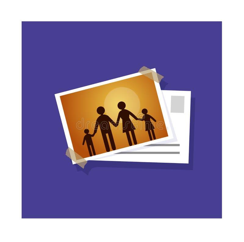 Prentbriefkaar voor familieillustratie vector illustratie