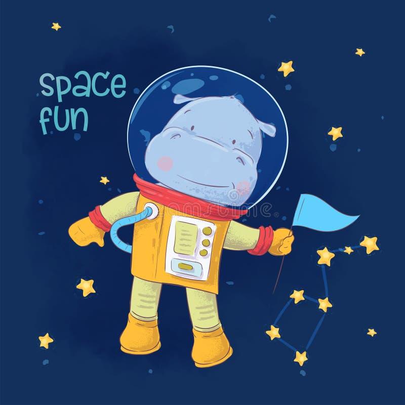 Prentbriefkaaraffiche van leuk astronautennijlpaard in ruimte met constellaties en sterren in beeldverhaalstijl De tekening van d stock illustratie