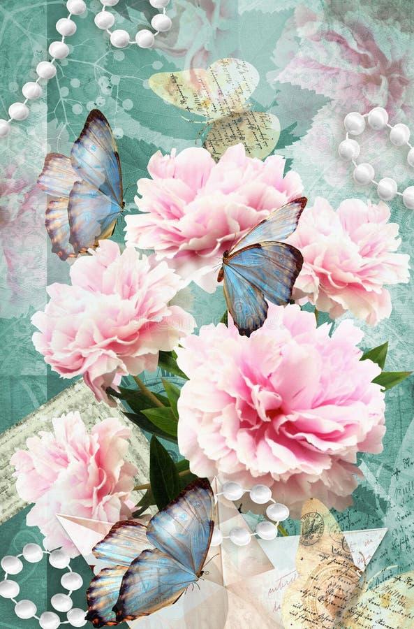 Prentbriefkaarbloem Gelukwensenkaart met pioenen, vlinders en parels Mooie de lente roze bloem vector illustratie