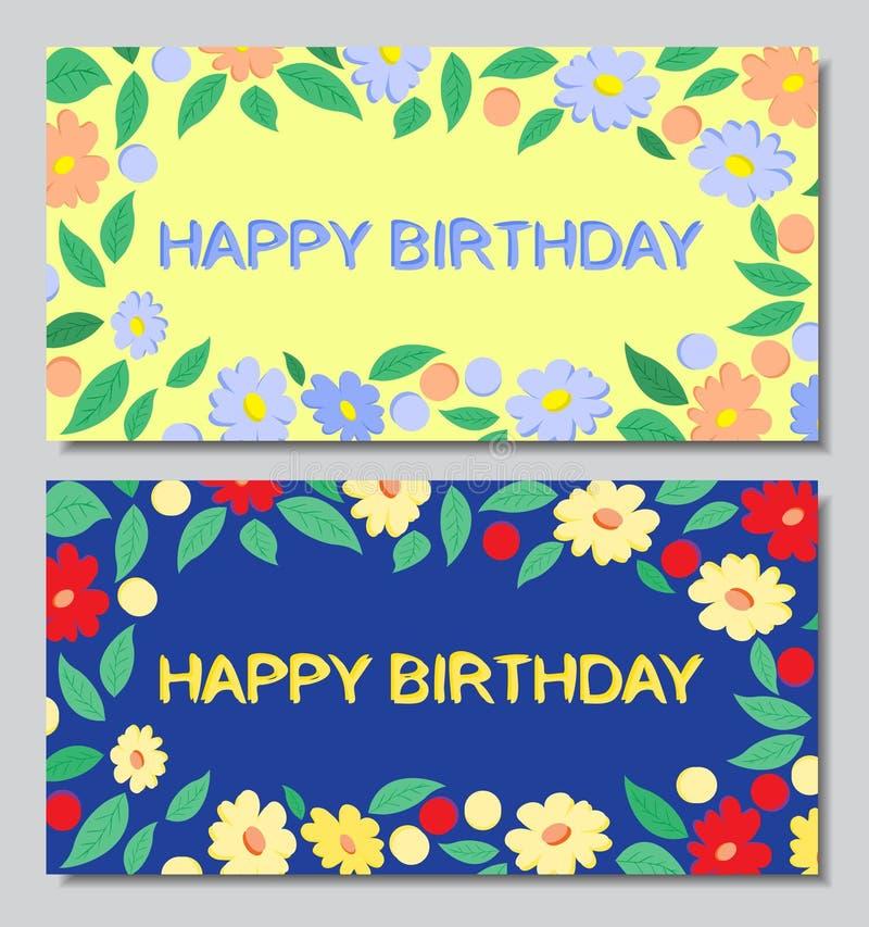 Prentbriefkaaren gelukkige verjaardag, bloemen, blauwe en gele achtergrond royalty-vrije illustratie