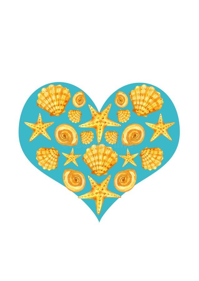 Prentbriefkaarhart van zeeschelpen vector illustratie