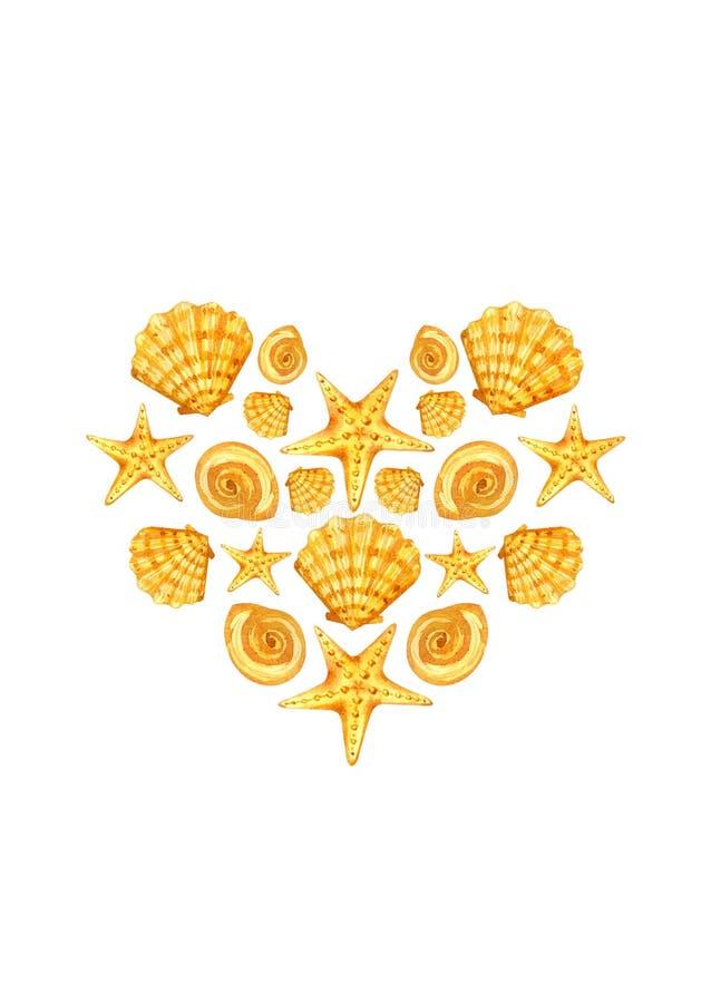Prentbriefkaarhart van zeeschelpen royalty-vrije illustratie