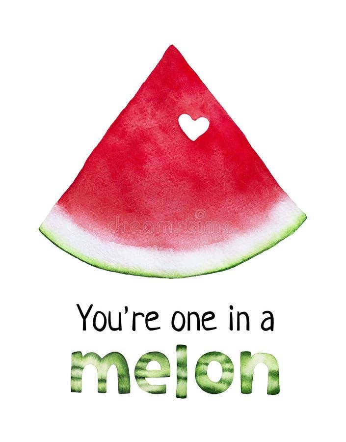 Prentbriefkaarontwerp ` u ` aangaande in een Meloen ` vector illustratie
