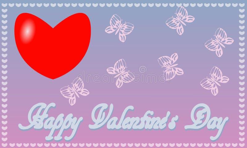 Prentbriefkaarst Valentine ` s de achtergrond van het Dag blauw-roze royalty-vrije stock afbeelding