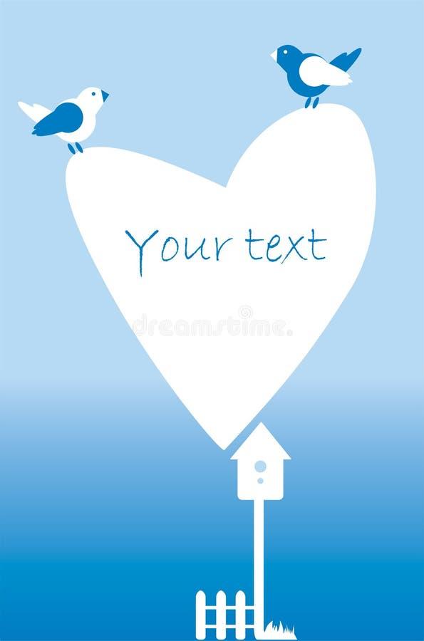 Prentbriefkaaruitnodiging met hart, omheining, vogels, vogelhuis vector illustratie