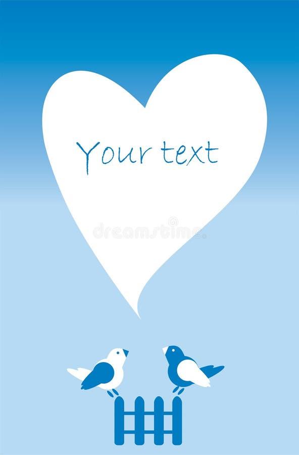 Prentbriefkaaruitnodiging met hart, omheining, vogels in wit en blauw royalty-vrije illustratie