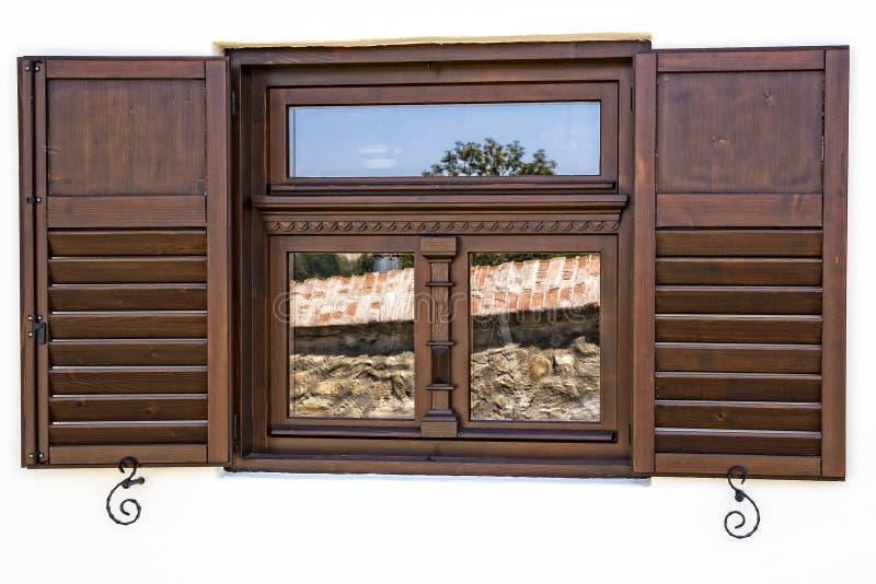 Prentbriefkaarvenster Sighisoara Roemenië stock afbeeldingen