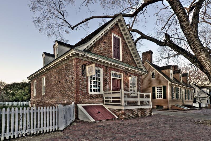 Prentis Store lokaliseras i koloniinvånaren Williamsburg, VA arkivbild