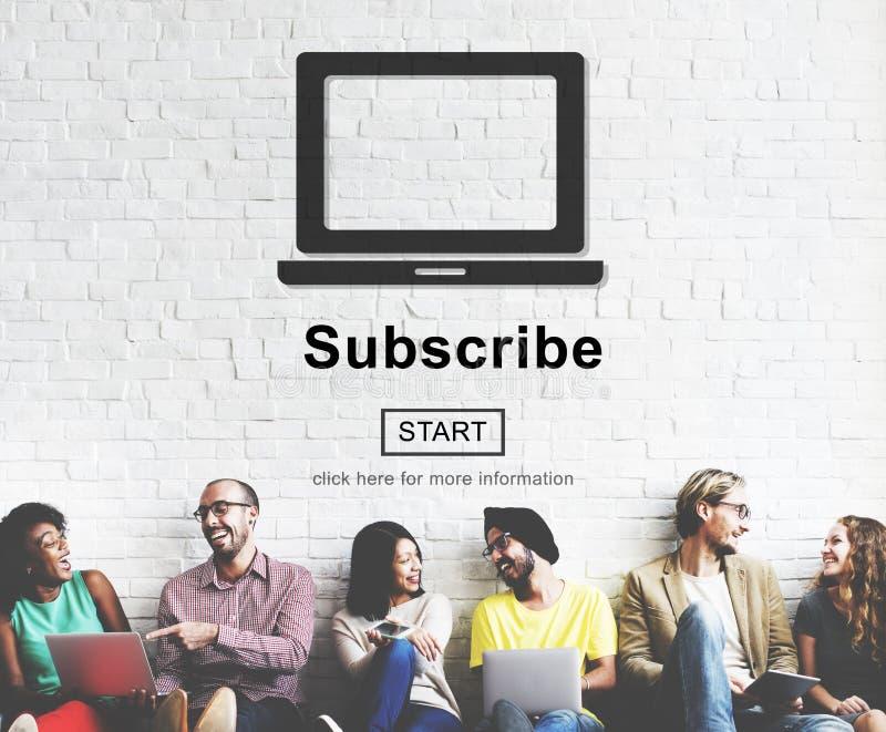 Prenumerera begreppet för advertizingmarknadsföringsmedlemskapet royaltyfri foto