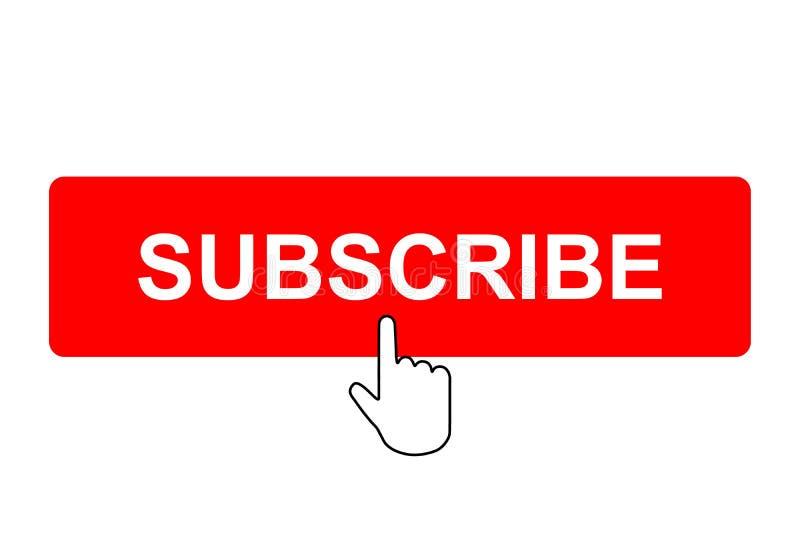Prenumerera knappen med muspekaren royaltyfri illustrationer